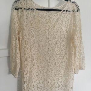 Ann Taylor Loft Lace Tunic szM